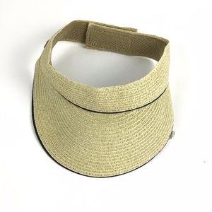 Nine West Velcro Packable Straw Visor Hat Tan